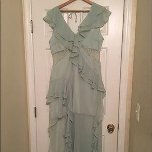 sea green chiffon asymmetrical hem dress